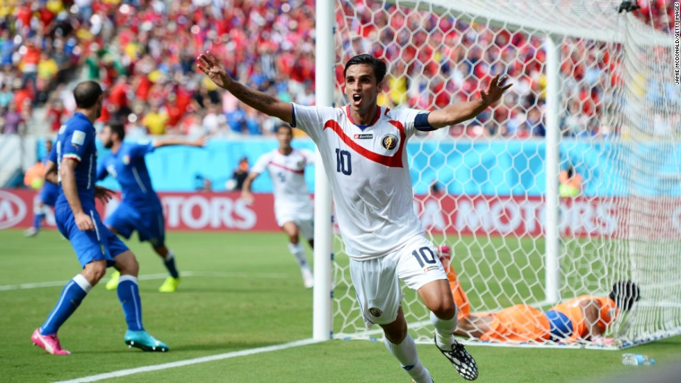 Bryan Ruiz of Costa Rica celebrates scoring a goal in the first half.
