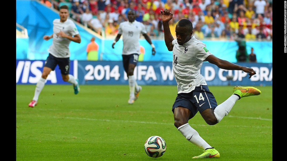 French midfielder Blaise Matuidi scores a goal to give his team a 2-0 lead over Switzerland.