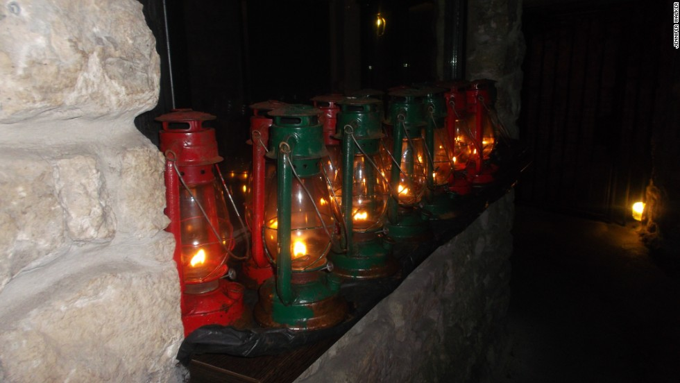 After 6 p.m. it's lights out down in the Labyrinth. Each tour team is given a gas lantern and has to navigate their way around the pitch black caves.