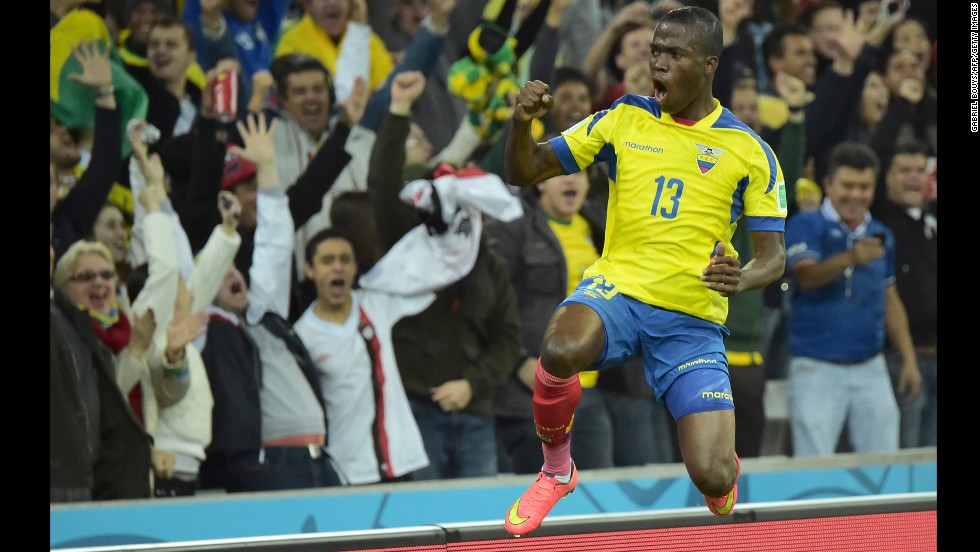 Ecuador forward Enner Valencia celebrates after scoring during.