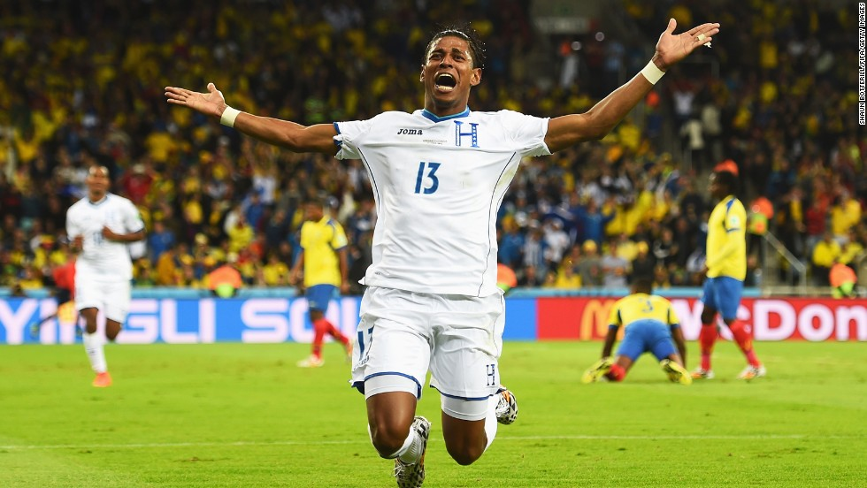 Carlo Costly of Honduras celebrates scoring his team's first goal.