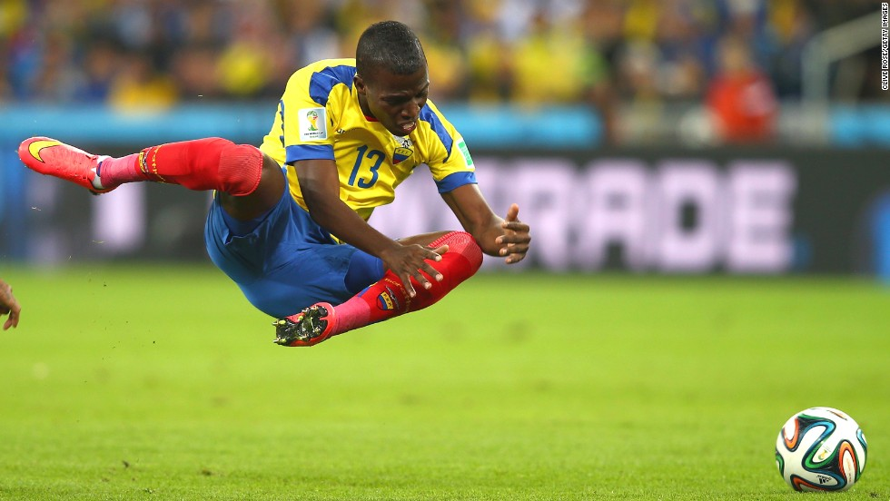 Enner Valencia of Ecuador falls after a collision.
