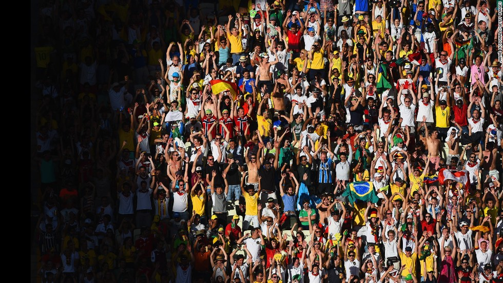 Fans cheer during during the Ghana-Germany match.
