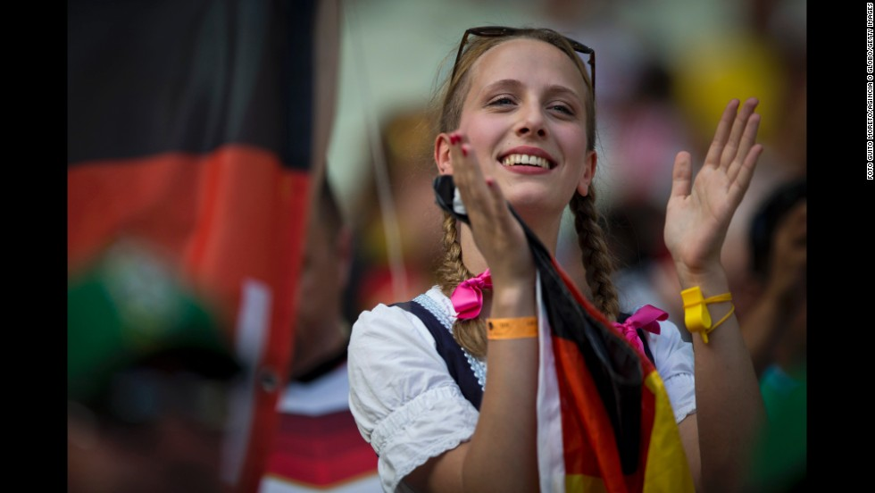 A young German fan shows her spirit.