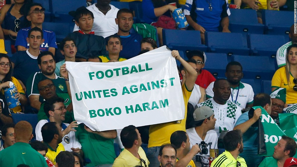 Fans hold up a sign during denouncing Boko Haram during the match. The militant group is blamed for scores of attacks in Nigeria.