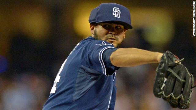 San Diego Padres pitcher Alex Torres wears a protective cap Saturday against the Los Angeles Dodgers at Petco Park.