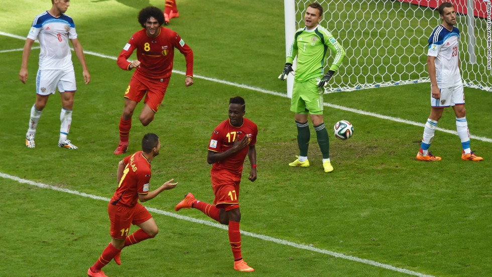 Belgium's forward Divock Origi, center, celebrates after scoring against Russia in Rio de Janeiro on June 22. Belgium won 1-0.