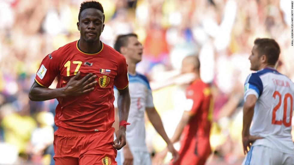 Belgian forward Divock Origi reacts after scoring the only goal during a game between Belgium and Russia in Rio de Janeiro.