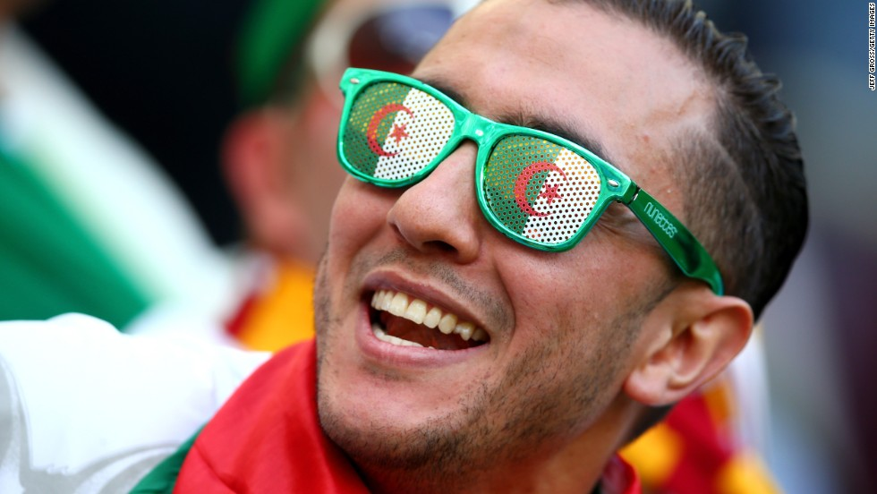 An Algeria fan shows his support.