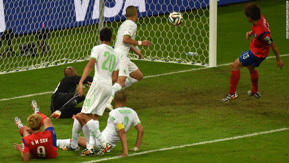 South Korean forward Koo Ja-cheol scores his team's second goal against Algeria at the Beira-Rio Stadium in Porto Alegre, Brazil, on June 22. Algeria won 4-2.