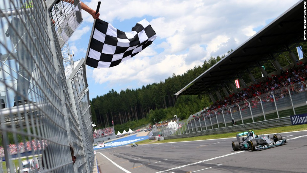 The German claimed the checkered flag ahead of second-placed Mercedes teammate Lewis Hamilton to extend his championship lead.