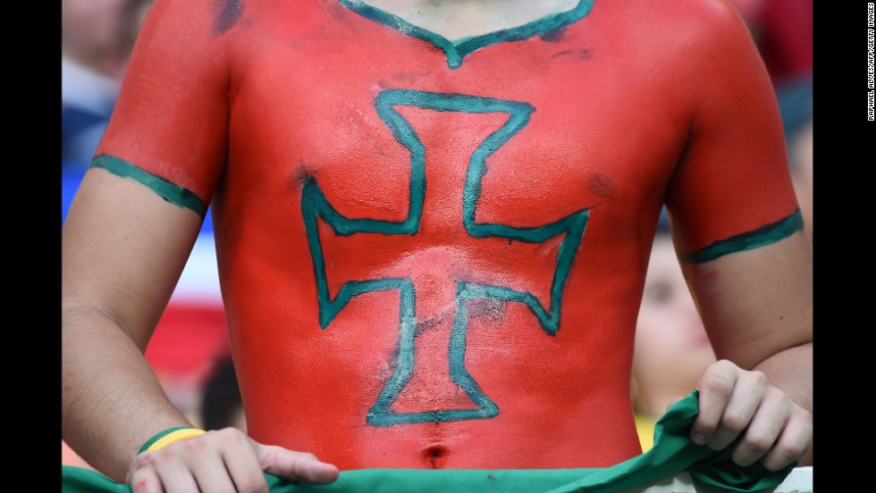 A Portugal fan shows his spirit in Arena Amazonia in Manaus before the start of the Portugal and United States game on June 22.
