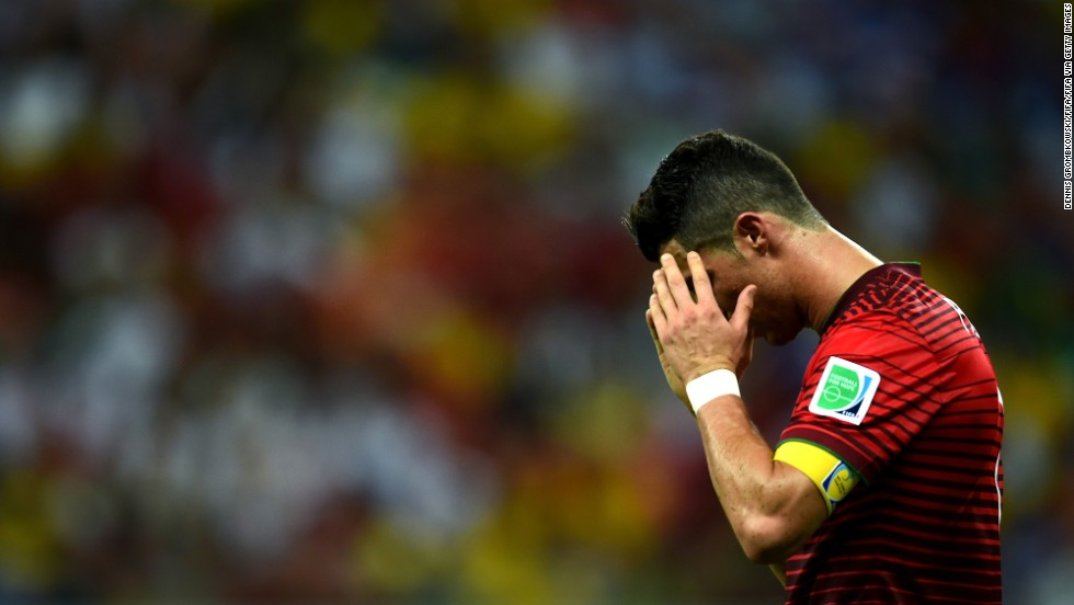 Cristiano Ronaldo of Portugal reacts after a play. He failed to score on several good opportunities but made a big pass that led to a Portugal goal.
