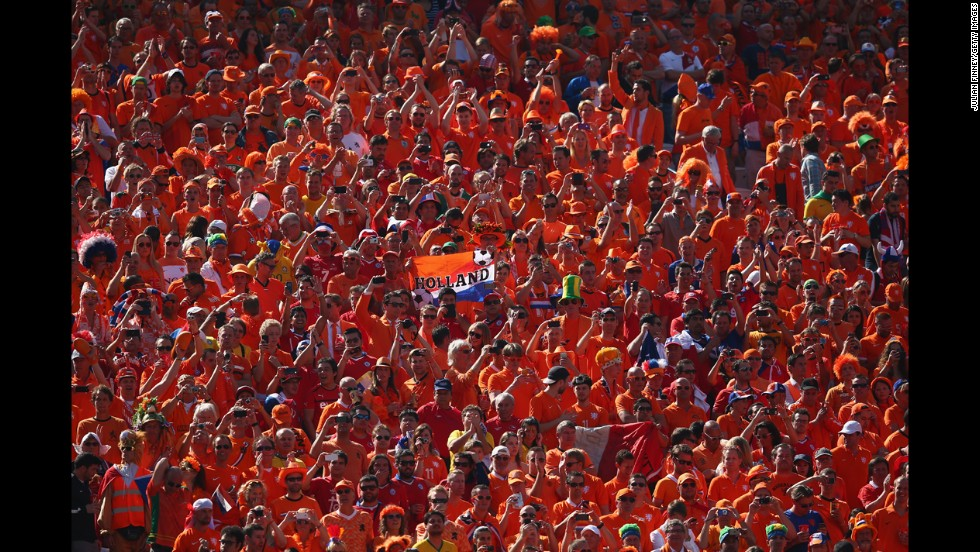 Netherlands fans cheer before the match against Chile.
