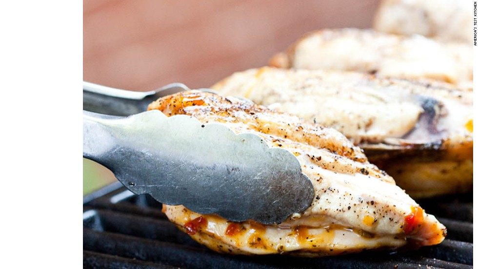7. Move chicken, bone side down, to hotter side of grill and cook until browned, 4 to 6 minutes. Then brush skin side of chicken with glaze.