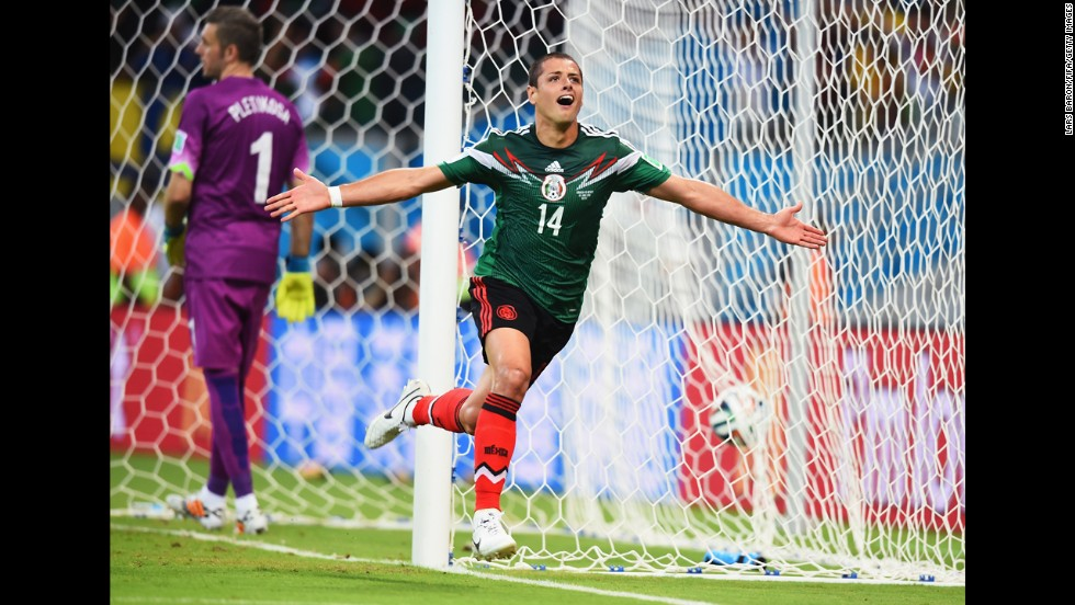 Javier Hernandez of Mexico celebrates scoring his team's third goal.