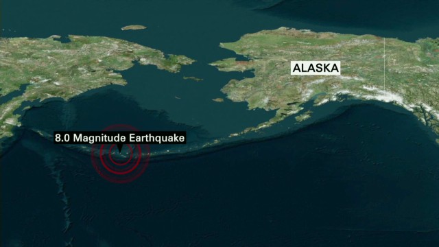 Tsunami warning in coastal Alaska