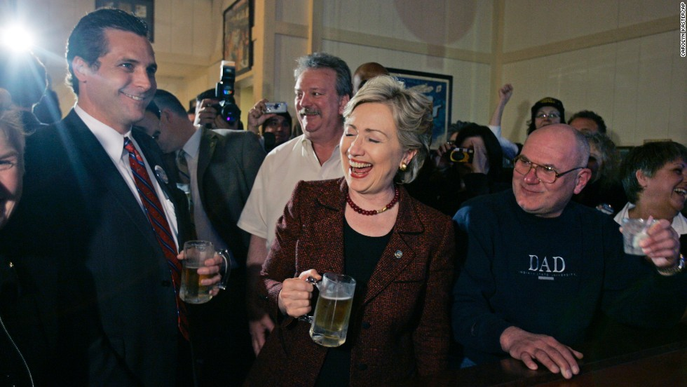 "After taking shots at Barack Obama for much of the day, Hillary Clinton used a 2008 campaign stop in Crown Point, Indiana, to drink a beer, take a shot of whiskey and munch on some pizza. What is more ""I'm one of you"" than that? Clinton, however, would go on to lose the 2008 Democratic primary."