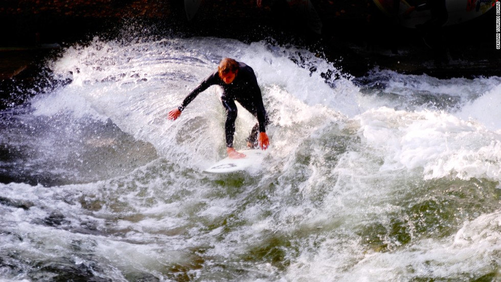 More than 100 surfers ride this standing wave on the Eisbach River in Munich, every day, but it's not for novices -- the flow rate is about 20 tons per second.