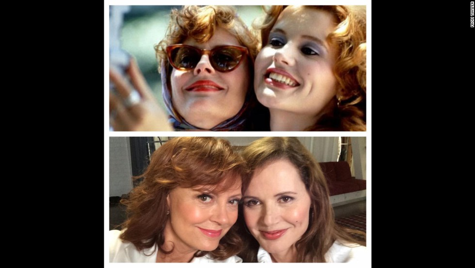 "Susan Sarandon <a href=""https://twitter.com/SusanSarandon/status/479736456613597184"" target=""_blank"">posted a selfie</a> with Geena Davis on Twitter on Thursday, June 19. ""Inventors of the #selfie at it again,"" she wrote, referring to a scene from the 1991 film ""Thelma & Louise."""