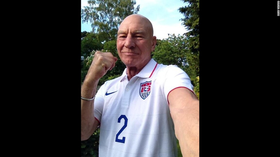 "English actor Sir Patrick Stewart <a href=""https://twitter.com/SirPatStew/status/480794086459584512"" target=""_blank"">takes a selfie</a> wearing a United States soccer jersey before the team's World Cup match against Portugal on Sunday, June 22. A late goal from Portugal ended the game in a 2-2 draw."