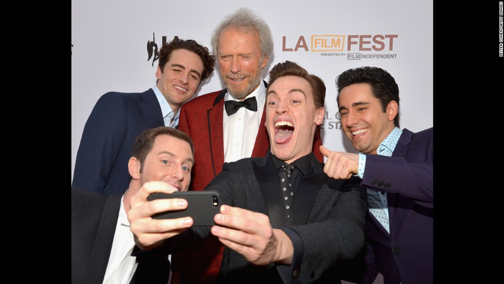 "From left, actors Michael Lomenda, Vincent Piazza, Clint Eastwood, Erich Bergen and John Lloyd Young take a selfie at the premiere of ""Jersey Boys"" during the 2014 Los Angeles Film Festival on Thursday, June 19."