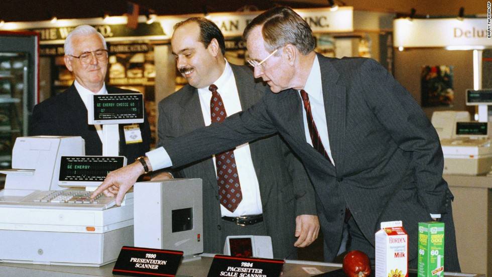 "By the time President George H.W. Bush faced off against Bill Clinton in 1992, he had lived in the bubble for 11 years -- eight as vice president and three-plus as president. So when he got to the National Grocers Association convention with photographers in tow, Bush was photographed appearing amazed by ""some of the technology"" -- namely the electronic scanners that most Americans saw every day at the supermarket. While the White House disputed whether Bush was bedazzled, Clinton used it to successfully cast him as out-of-touch."
