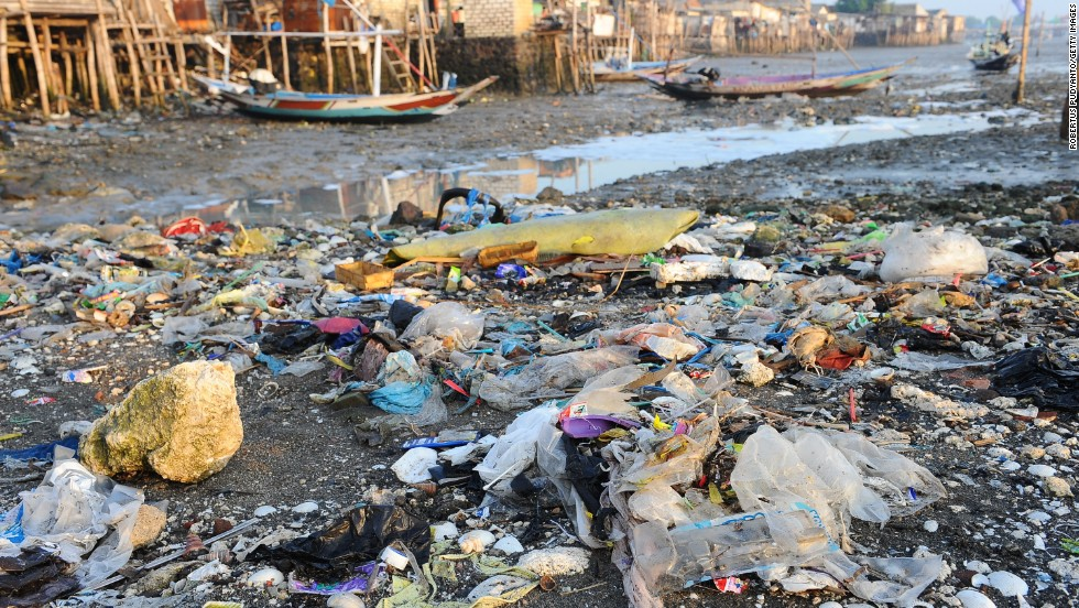 Trash lay scattered on Kenjeran Beach in Indonesia, in March 2014.