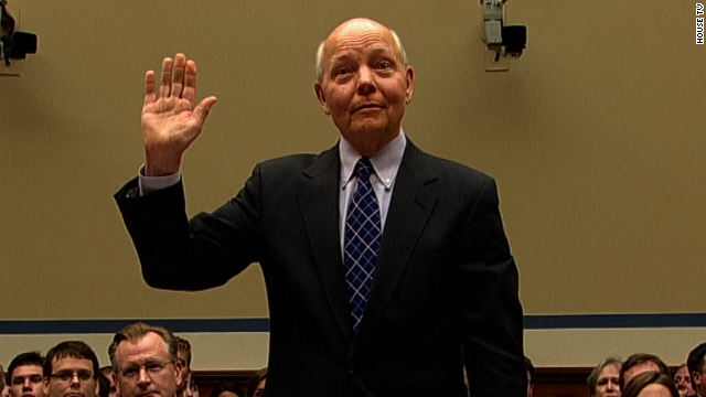 New IRS chief John Koskinen is sworn in at House hearing on IRS scandal