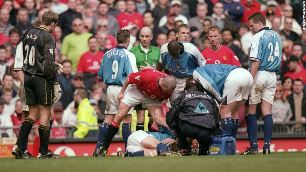 Manchester United captain and beserker Roy Keane broke Alf-Inge Haaland's leg in a gruesome tackle in 'retaliation' for a perceived slight.
