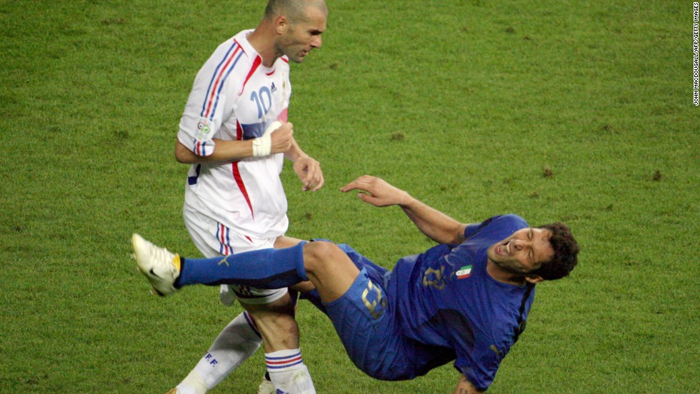 In one of the World Cup's most enduring images, Zizou resigns himself to an early bath after headbutting Marco Materazzi in the 2006 final.