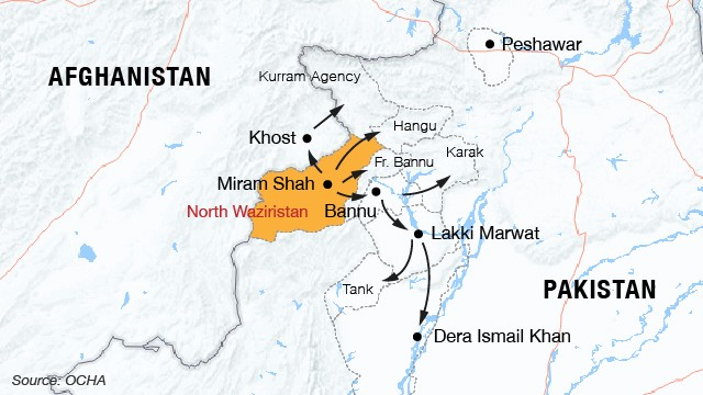 Map: Civilians flee North Waziristan