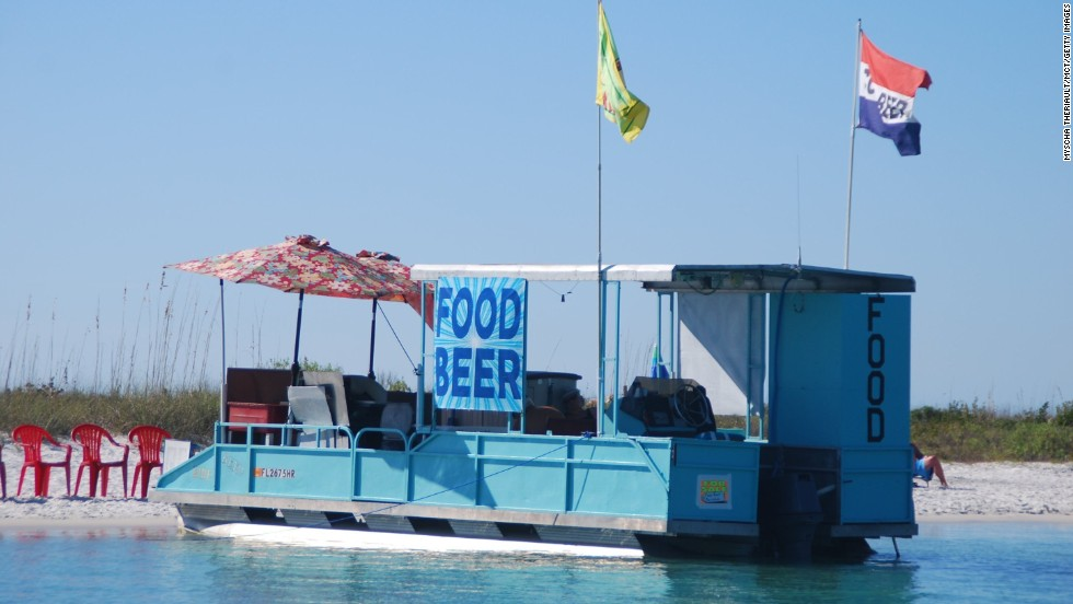 In Keewaydin Island, Florida, the food truck doesn't come with wheels. The island is only accessible by boat.