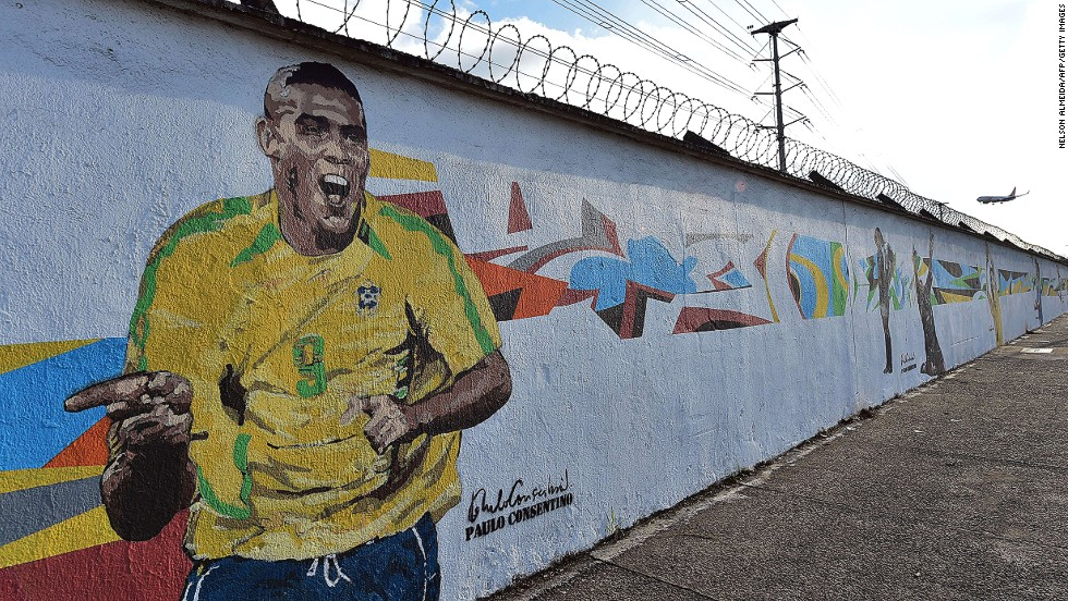 Nearby, another colorful artwork recalls the great Brazilian striker Ronaldo at the 2002 World Cup in Japan and South Korea -- yet another successful tournament for a Selecao.