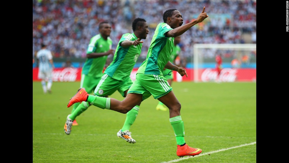Nigeria forward Ahmed Musa celebrates scoring his team's second goal against Argentina.