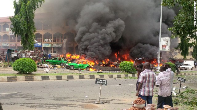 The blast happened at Emab Plaza in Abuja's Wuse II business district around 4 p.m. local time.
