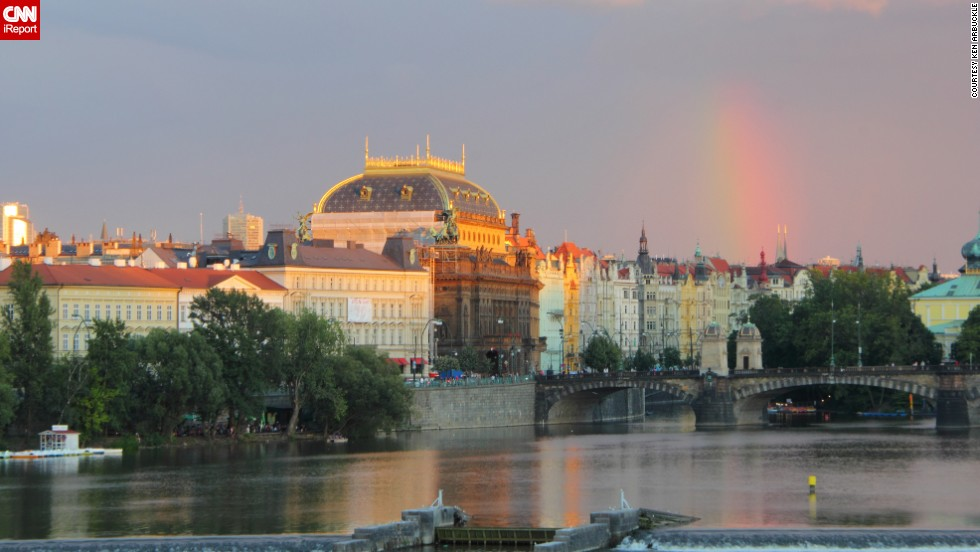 "A rainbow appears after a summer shower in Prague, Czech Republic, where <a href=""http://ireport.cnn.com/docs/DOC-1145558"">Ken Arbuckle</a> and his wife vacationed in July 2012."