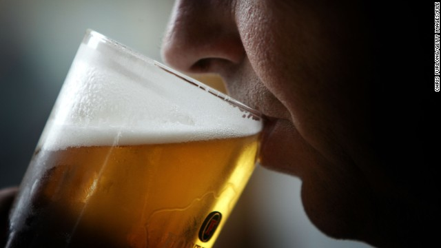 "GLASGOW, SCOTLAND - NOVEMBER 26: A man drinks a pint of beer. November 26, 2004,  Glasgow, Scotland. The Scottish Executive has announced a major campaign designed to call time on the binge drinking culture which creates bad health and anti social behaviour. It is estimated that drink related problems cost the people of Scotland over £1bn a year.  Glasgow City Council has already banned ""happy hours"" where cut price drinks can be bought at specific times. (Photo illustration by Chris Furlong/Getty Images )"