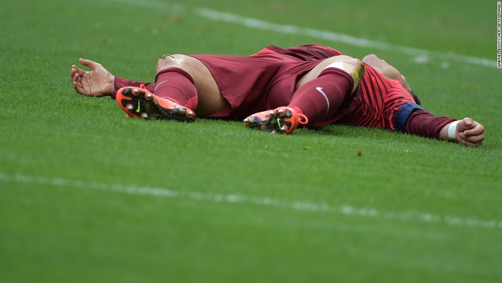 Portugal's Cristiano Ronaldo reacts after a play.