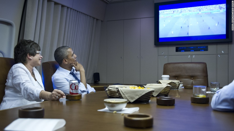 U.S. President Barack Obama and senior adviser Valerie Jarrett watch the Germany match while en route to Minneapolis.