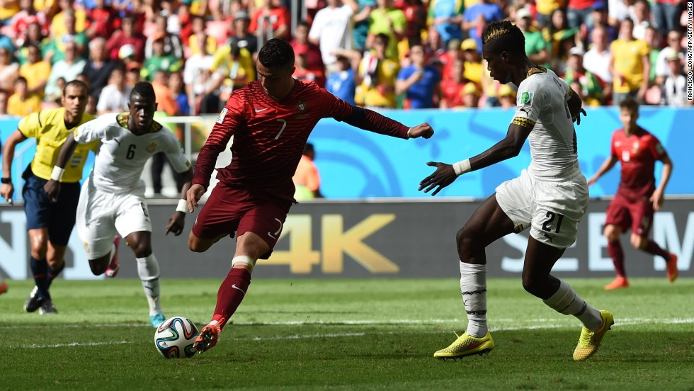 Portugal's forward and captain Cristiano Ronaldo scores during the match against Ghana on Thursday, June 26. Portugal won 2-1.
