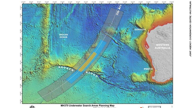 Refined search area for MH370