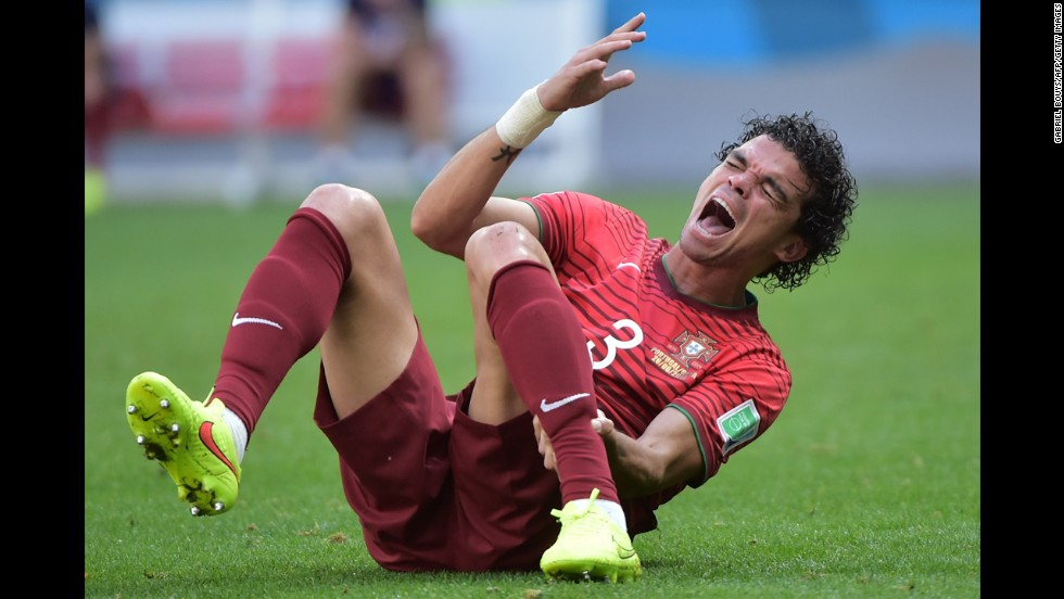 Portugal defender Pepe reacts during a match against Ghana.