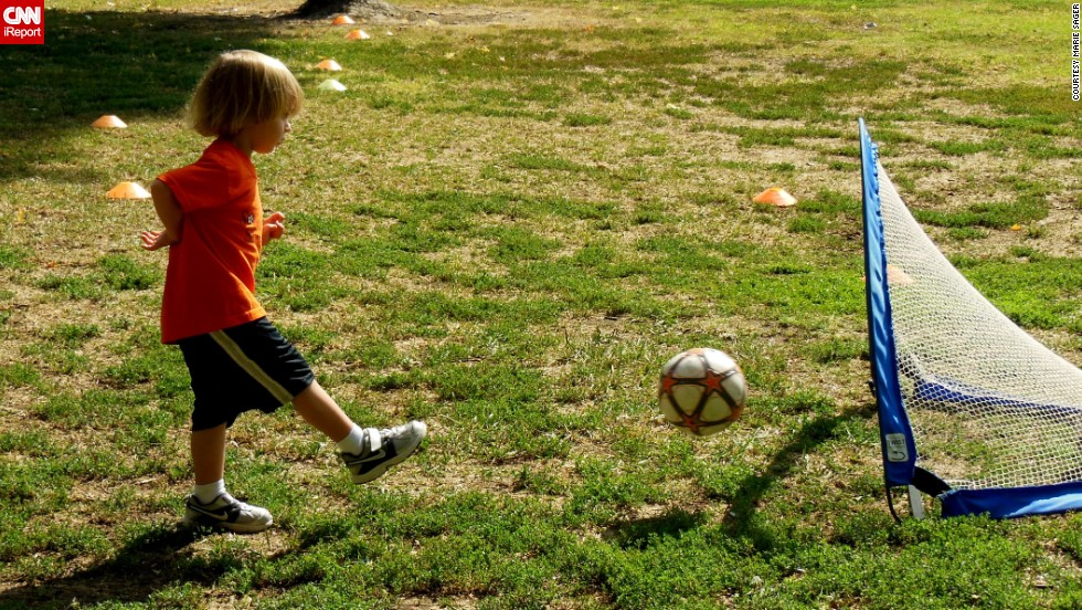 """Get 'em started early! Marie Sager's 4-year-old grandson, Mason Banks, <a href=""""http://ireport.cnn.com/docs/DOC-1134301"""">practices his shot</a> at a park in Studio City, California."""