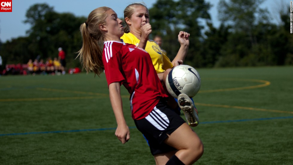 "You can see the intensity and determination on these women's faces as they <a href=""http://ireport.cnn.com/docs/DOC-1135702"">battle for the ball</a> in a Westchester County, New York, soccer league."