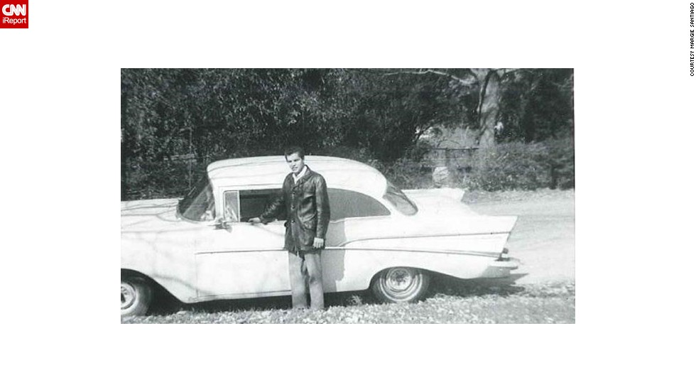 "<a href=""http://ireport.cnn.com/docs/DOC-1146638"">Margie Santiago</a> said her father was the ""epitome of cool"" in 1968, with his leather jacket and his first car, a Chevrolet Bel Air. Santiago said her father remembers it being a '59 model, but some intrepid CNN readers pointed out that it's actually from 1957. Alex Nunez, director of RoadandTrack.com, confirmed that the car's trim shape indicates it is a 1957 Bel Air."
