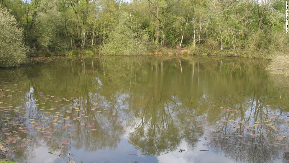 This pretty pond surrounded by trees is just one of a number of craters created after a series of huge explosions under German lines in June 1917.