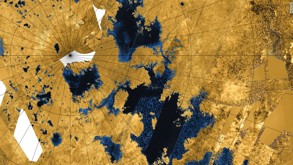 8. Study of prebiotic chemistry on Titan. Titan's atmosphere is the most chemically complex in the solar system. Here, bodies of liquid near Titan's north pole can be seen.