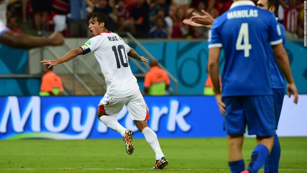 Costa Rica's captain, Bryan Ruiz, celebrates after scoring a goal.