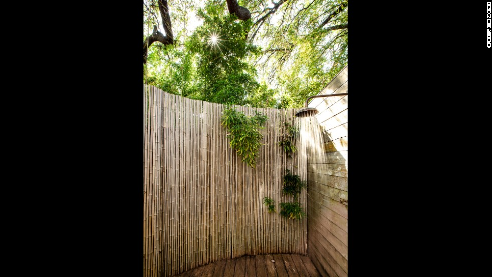 Hotel Saint Cecilia mixes Texan extravagance with the charming hipster culture of Austin. Suite One offers this sweet outdoor shower.